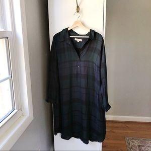 LOFT Plus plaid long sleeve button front dress 629